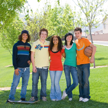 group of teen guys and girls