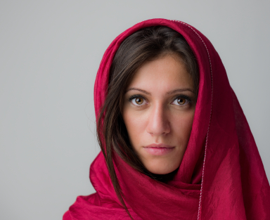 young woman in red scarf