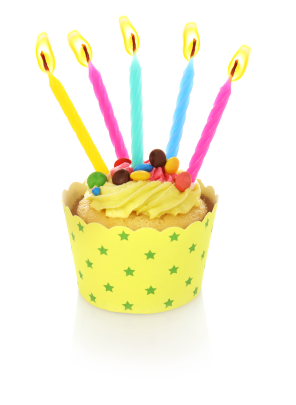 cupcake with 5 candles