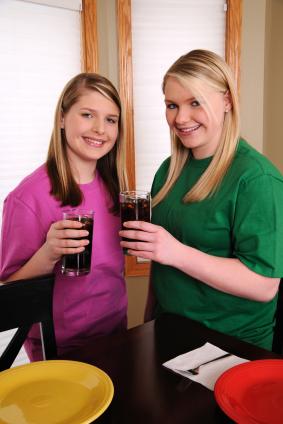 girls with soda