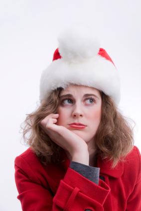 unhappy girl at Christmas